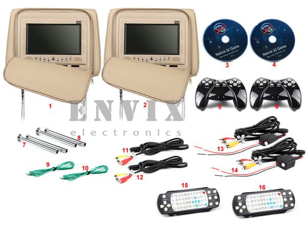 Пара 7-ми дюймовых подголовников ENVIX с DVD и мониторами