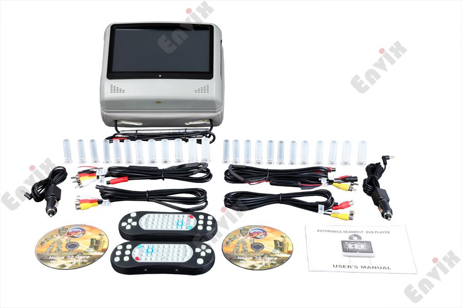 9-ти дюймовый съемный подголовник с сенсорным экраном и встроенным DVD ENVIX