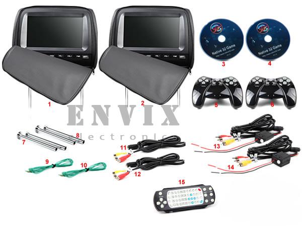 Пара 9-ти дюймовых подголовников с DVD и мониторами ENVIX